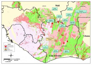 Côte d'Ivoire and Mali Project locations – Birimian geological sequence highlighted, with location of Taruga projects and known gold mineralisation.  Nangalasso Project located in southern Mali