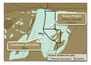 Location of Kossa and Essakane mines