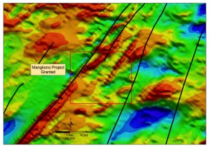 Mangkono Project – granted concession overlying aeromagnetics.  Majorstructures and complex geology highlight the potential for fluid movement and development of gold mineralisation.