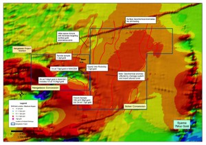 Nangalasso Project – drill hole location and outline of gold anomalous zones.  Note all drilling on Nangalasso licence targeting geochemical anomaly as labeled.  Note extensive anomaly defined on Sotian licence.  Background RTP aeromagnetic image